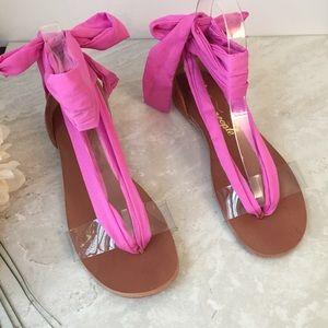Free People NWOT Barcelona Pink Ribbon Wrap sandal